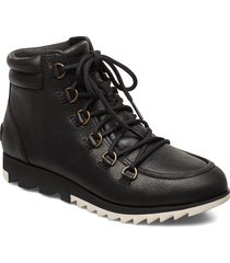 harlow lace shoes boots ankle boots ankle boots flat heel svart sorel