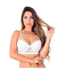 soutien strappy vip lingerie base em renda branco