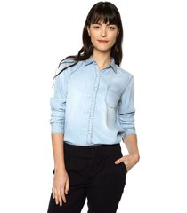 camisa isabella color siete para mujer  - azul