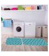kit tapete lavanderia blue único 40x80