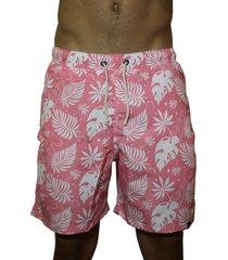 short praia outstanding reta estampado rosa e folhas brancas - kanui