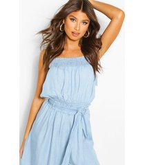 chambray tie shirred top, light blue