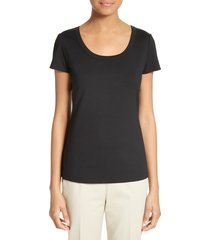 women's lafayette 148 new york scoop neck cotton tee, size petite - black