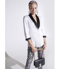 motivi giacca blazer bicolor con motivo fiocchi donna bianco