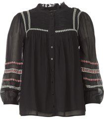 blouse met geborduurde details celeste  zwart