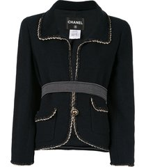 chanel pre-owned braided trim jacket - blue