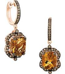 14k strawberry gold®caramel quartz™ chocolatediamonds® & vanilla diamonds® earrings