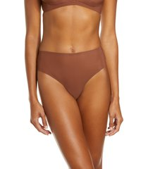 women's skims naked high waist thong, size small - brown