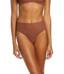 women's skims naked high waist thong, size xx-small - brown