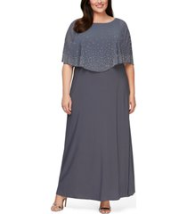 alex evenings plus size embellished popover gown
