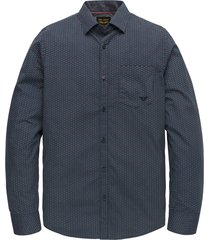 pme legend psi202201 5287 long sleeve shirt poplin with all-over print dark sapphire blauw