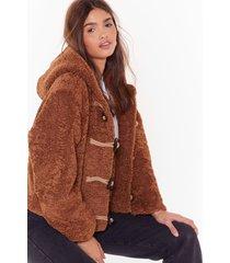 womens can i toggle along faux shearling coat - camel