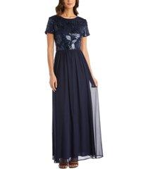 r & m richards sequin-embellished gown
