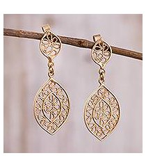 gold plated sterling silver filigree dangle earrings, 'drops of autumn' (peru)