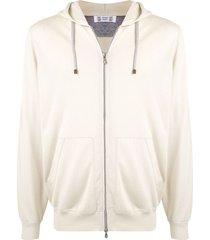 brunello cucinelli loose zipped hoodie - neutrals