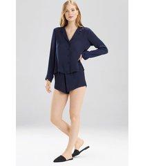 bardot satin notch pajamas, women's, blue, size xs, josie