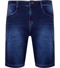 bermuda denim malha dark blue (jeans escuro, 50)