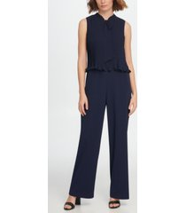 dkny s/l tie neck pleated combo jumpsuit