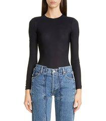 women's maison margiela tech jersey bodysuit, size 6 us / 42 it - black