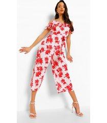 bloemenprint jumpsuit met franjes, uitgesneden schouders en ceintuur, white