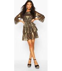 metallic tierred flute sleeve skater dress, gold