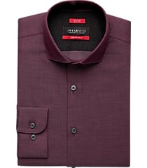 awearness kenneth cole awear-tech burgundy slim fit dress shirt