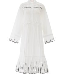 see by chloé polka dot embroidered midi dress
