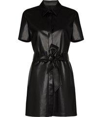 nanushka halli belted faux leather mini dress - black