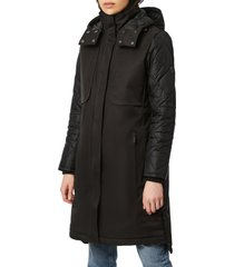 bernardo water resistant parka with removable hood, size xx-large in black at nordstrom