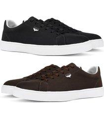 kit 2 pares de sapatãªnis skateboard sapatofran casual preto e cafã© - preto - masculino - lona - dafiti