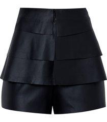 shorts john john ruffles couro fake preto feminino (preto, 50)