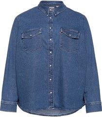 pl essential western going ste overhemd met lange mouwen blauw levi's plus