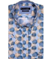 giordano korte mouwen overhemd blauw beige