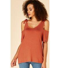 yoins orange knot diseño camiseta con hombros descubiertos