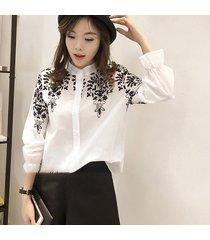 ey primavera verano mujer mangas largas bordados florales stand-up collar camiseta-blanco