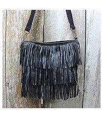leather shoulder bag, 'sulawesi style' (indonesia)