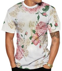 camiseta di nuevo branca e rosa florida verão 2019