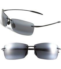 men's maui jim lighthouse 65mm polarizedplus2 oversize rimless sunglasses - gloss black