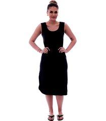 camisola ficalinda  preta longuete de alça com viés preto.