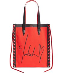christian louboutin small cabalace canvas & leather tote -