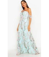 bloemenprint maxi jurk met open schouders, muntgroen