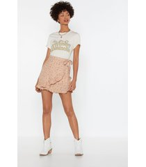 womens bud out floral wrap skirt - pink
