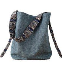 casual borsa a secchiello a spalla con tracolla in tela di stile folcloristico