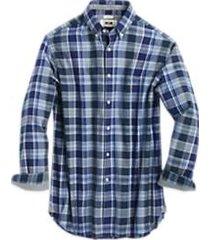 joseph abboud navy plaid cotton and cashmere classic fit sport shirt