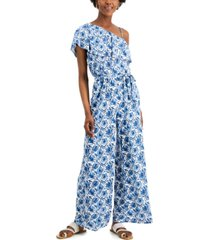 inc international concepts printed one-shoulder jumpsuit, created for macy's