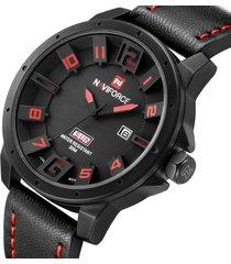 naviforce military watches men quartz analog 3d face leather strap watch