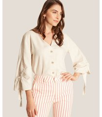 blusa beige de lino
