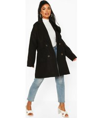 petite oversize double breasted pocket detail coat