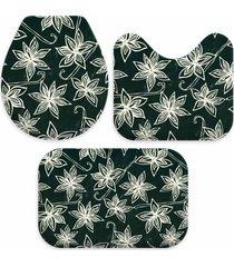 jogo tapetes love decor para banheiro basic flowers verde ãšnico - verde - dafiti