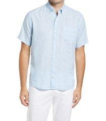 men's peter millar crown cool sardinia short sleeve button-down shirt, size large - blue